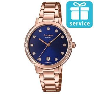 【CASIO 卡西歐】SHEEN 簡約氣質不鏽鋼錶-玫瑰金X優雅藍(SHE-4056PG-2A)