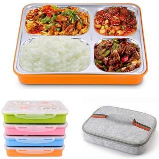 【PUSH!】餐具用品304不銹鋼保溫飯盒便當盒防燙餐盤盒加保溫提袋1入(E74-4)