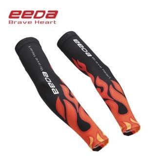 【EEDA】戶外騎車運動冰絲涼感防曬袖套 火焰黑 尺寸可選