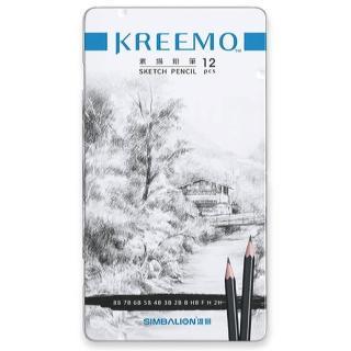 【SIMBALION 雄獅】KMPC-9561 雄獅KREEMO 素描鉛筆-鐵盒(12支入)
