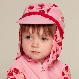 【Playshoes】嬰兒童抗UV防曬水陸兩用遮頸帽-草莓(護頸遮脖遮陽帽泳帽)