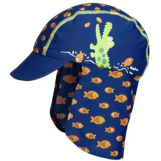 【Playshoes】嬰兒童抗UV防曬水陸兩用遮頸帽-鱷魚(護頸遮脖遮陽帽泳帽)