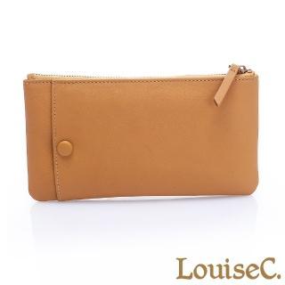 【LouiseC.】植鞣牛皮 拉鍊長夾/手拿包 可拆式卡片夾-氣質黃(HGSB710528-13)
