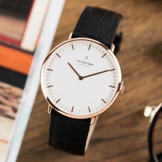【Nordgreen】Native本真x玫瑰金 黑色鱷魚紋真皮錶帶腕錶 40mm(NA40RGLEBCXX)