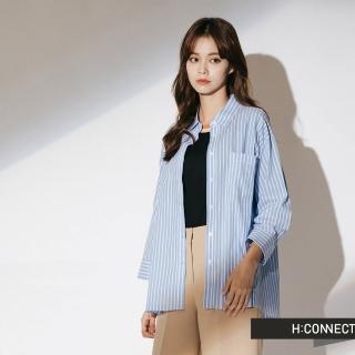 【H:CONNECT】韓國品牌 女裝 - 棉質細條紋襯衫(藍色)