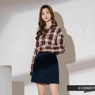 【H:CONNECT】韓國品牌 女裝 - 復古配色格紋襯衫(藍色)