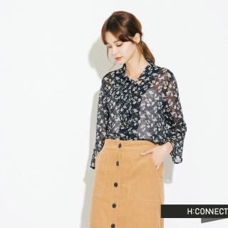 【H:CONNECT】韓國品牌 女裝 - 氣質綁結碎花上衣(藍色)