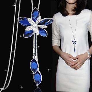 【HaNA 梨花】韓國懷柔妍言藍水晶花瓣毛衣鍊長項鍊