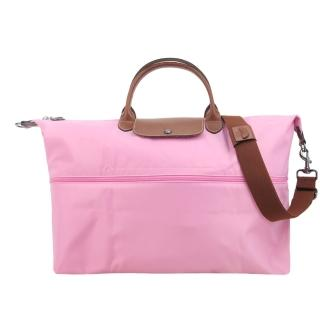 【LONGCHAMP】LE PLIAGE 延展夾層手提/斜背旅行袋(粉紅)