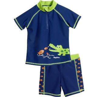 【德國Playshoes】抗UV防曬短袖兩件組兒童泳裝-鱷魚(認證UPF50 泳衣+泳褲)