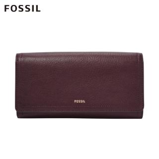【FOSSIL】LOGAN 無花果紫紅色三折真皮拉鍊RFID長夾 SL7929503