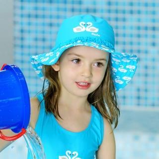 【德國Playshoes】嬰兒童抗UV防曬水陸兩用漁夫帽-天鵝(護頸遮脖遮陽帽泳帽)