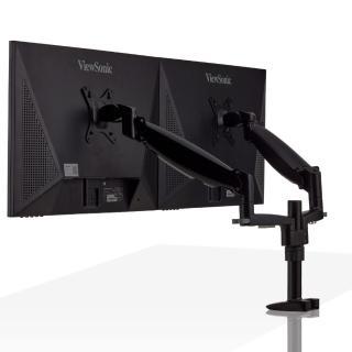 【aka】雙螢幕氣壓伸縮支架組--黑色(電腦/液晶/螢幕架/筆電架/伸縮架)