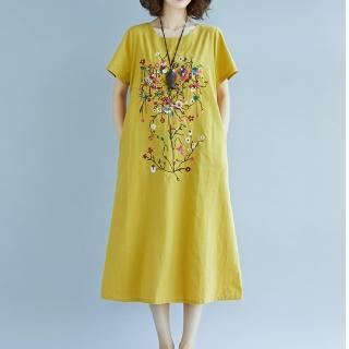 【Jimmy&Wang】彩色繡花長版連衣裙—二色選一