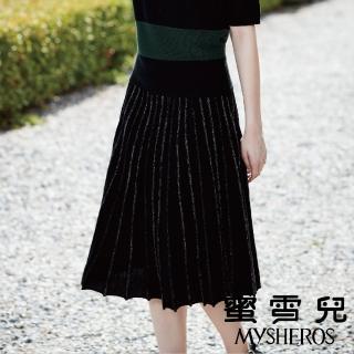 【mysheros 蜜雪兒】羊毛百褶金蔥長裙(黑)