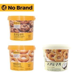 【韓國 No Brand】桶裝餅乾任選三桶(奶油.巧克力豆.椰子)