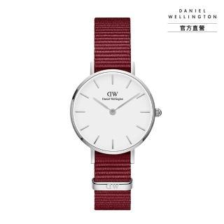 【Daniel Wellington】DW 手錶 官方旗艦店 28mm銀框 Petite 玫瑰紅織紋手錶