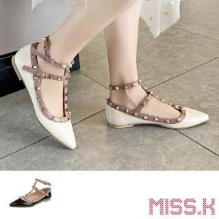 【MISS.K】尖頭淺口鉚釘T字繫帶時尚低跟鞋(3色任選)