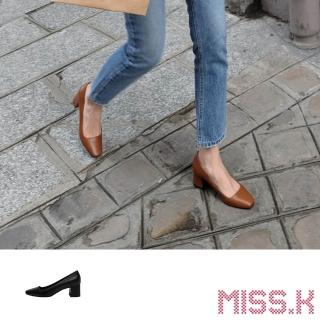 【MISS.K】小方頭淺口質感純色優雅高跟鞋(3色任選)