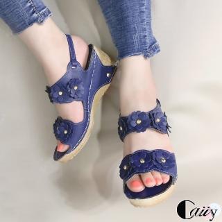 【Caiiy】甜美花朵厚底楔型涼鞋A310(藍色/黑色)
