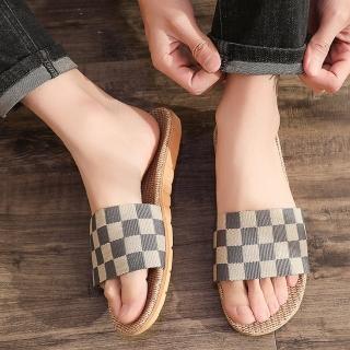 【BonBon naturel】亞麻室內涼拖鞋防滑拖鞋-經典條紋/四雙入/多款可選擇(亞麻拖鞋/防滑拖鞋/室內拖鞋)