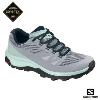 【salomon】低筒登山鞋 GORETEX 防水 女 OUTline(珍珠藍/冰河藍/池青)