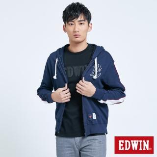 【EDWIN】復古運動拉T外套-男款(丈青色)