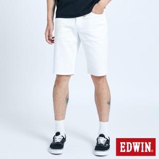 【EDWIN】EDGE基本五袋短褲-男款(白色)