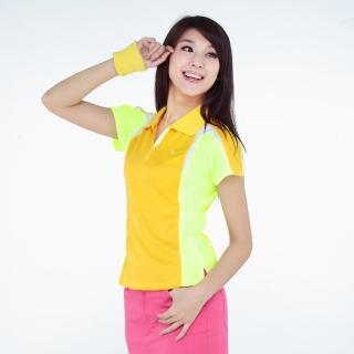 【西崎】女款抗UV吸濕排汗機能POLO衫 黃(3L-5L)
