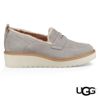 【UGG】Atwater毛飾邊厚底樂福鞋(牛皮楔型樂福鞋)