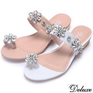 【Deluxe】全真皮質感閃耀花朵水鑽夾腳低跟涼鞋(粉☆白)