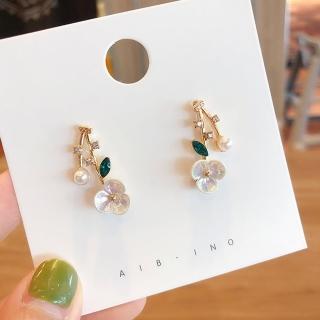 【HaNA 梨花】韓國迴夢之廊貝殼花卉寶石耳環
