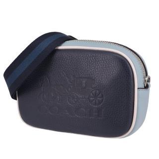 【COACH】經典大馬車壓印立體LOGO 荔枝紋牛皮皮革 斜背包/腰包(藍色)