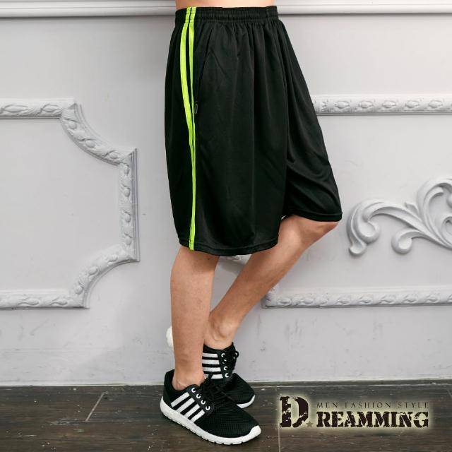 【Dreamming】螢光滾邊抽繩休閒運動棉質短褲(黑色)/