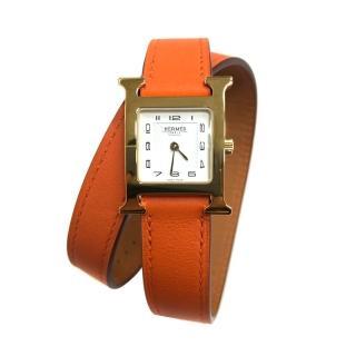 【Hermes 愛馬仕】HEURE H 小牛皮金框雙圈石英錶(橘/21mm)