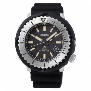 【SEIKO 精工】PROSPEX STREET 鮪魚罐頭太陽能200米潛水腕錶-黑(V157-0DD0D/ SNE541P1)