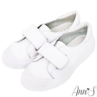 【Ann'S】餅乾家族-魔鬼氈全真皮小白鞋(白)