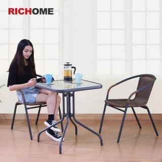 【RICHOME】奧利爾休閒桌椅組-一桌二椅(方桌/圓桌可選)
