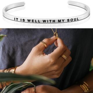 【MantraBand】美國悄悄話手環 It Is Well With My Soul 我心靈得安寧 銀色手環(悄悄話手環)