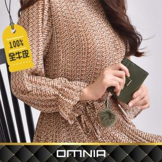 【OMNIA】韓國Cream流蘇吊飾真皮卡夾 NO.3273S(牛皮短夾)