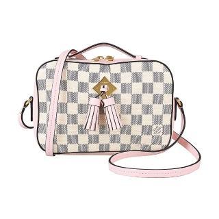 【Louis Vuitton 路易威登】LV N40155 SAINTONGE棋盤格流蘇設計手提斜背相機包(展示品/米白X粉紅)