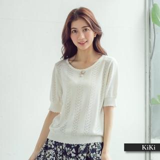 【KiKi】精緻別針短袖-針織衫(三色)