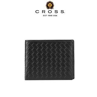 【CROSS】頂級NAPPA小牛皮編織紋4卡1零錢袋男用皮夾阿梅爾系列(黑色)