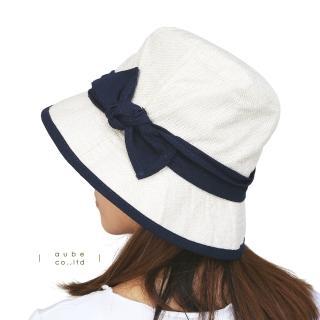 【日本AUBE】撞色蝴蝶結抗UV防曬小臉遮陽帽(優雅氣質款)