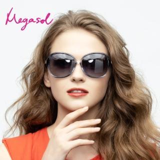 【MEGASOL】UV400防眩偏光太陽眼鏡時尚女仕大框矩方框墨鏡(精緻水鑽氣派箭頭鏡架1906-5色選)/