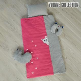 【Yvonne Collection】貓咪兩用兒童睡袋(桃粉)