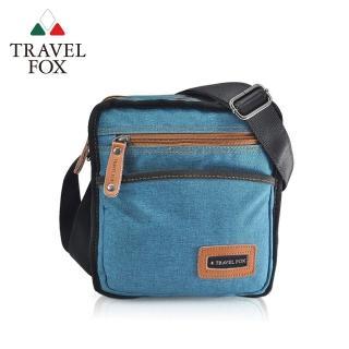 【TRAVEL FOX 旅狐】簡約單寧紋側背包(TB675-47 藍色)