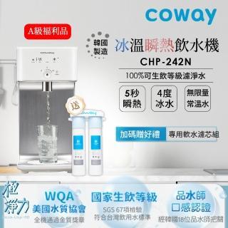 【Coway】Coway 濾淨智控飲水機 冰溫瞬熱桌上型 CHP-242N(★贈軟水專用淨水器 市值$3500)