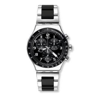 【SWATCH】金屬系列手錶 SPEED UP 黑銀剛硬(43mm)