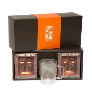 【TRIBO COFFEE】精品濾掛式咖啡 手工吹製雙層玻璃杯禮盒組(11g x 20包 及 360ml 玻璃杯)